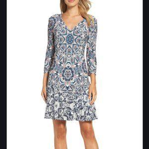 NWT Eliza J Print Knit A-Line Minidress Petite 6